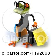 Clipart Of A 3d Formal Springer Frog Wearing Glasses And Carrying Shopping Bags 3 Royalty Free CGI Illustration