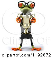 Clipart Of A 3d Formal Frog With Glasses Accepting A Trophy Royalty Free CGI Illustration
