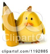 Clipart Of A 3d Chubby Yellow Bird Chicken Standing With A Pencil Royalty Free CGI Illustration