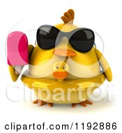 Clipart Of A 3d Chubby Yellow Bird Chicken With A Popsicle And Duck Inner Tube Royalty Free CGI Illustration