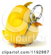 Clipart Of A 3d Chubby Yellow Bird Chicken Using A Magnifying Glass 2 Royalty Free CGI Illustration