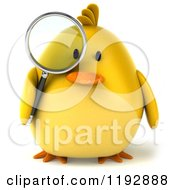 Clipart Of A 3d Chubby Yellow Bird Chicken Using A Magnifying Glass Royalty Free CGI Illustration