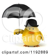 Clipart Of A 3d Chubby Yellow Bird Chicken Under An Umbrella Royalty Free CGI Illustration