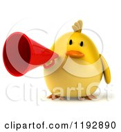 Clipart Of A 3d Chubby Yellow Bird Chicken Holding A Megaphone Royalty Free CGI Illustration