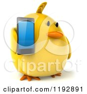 Clipart Of A 3d Chubby Yellow Bird Chicken Holding A Smart Phone 2 Royalty Free CGI Illustration