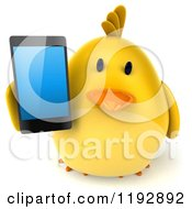 Clipart Of A 3d Chubby Yellow Bird Chicken Holding A Smart Phone Royalty Free CGI Illustration