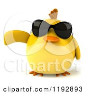 Clipart Of A 3d Chubby Yellow Bird Chicken Wearing Sunglasses And Pointing Royalty Free CGI Illustration