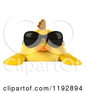 Clipart Of A 3d Chubby Yellow Bird Chicken Wearing Sunglasses Over A Sign Royalty Free CGI Illustration