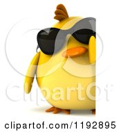Clipart Of A 3d Chubby Yellow Bird Chicken Wearing Sunglasses By A Sign Royalty Free CGI Illustration