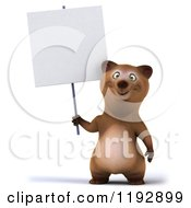 Clipart Of A 3d Happy Bear Mascot Holding A Sign Royalty Free CGI Illustration
