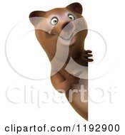 Clipart Of A 3d Happy Bear Mascot Pointing At A Sign Royalty Free CGI Illustration