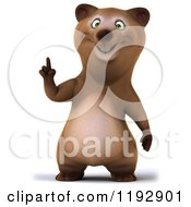 Clipart Of A 3d Happy Bear Mascot Pointing Up Royalty Free CGI Illustration