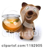 Clipart Of A 3d Happy Bear Mascot Holding Up A Honey Jar Royalty Free CGI Illustration