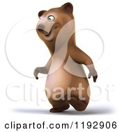 Clipart Of A 3d Happy Bear Mascot Walking Royalty Free CGI Illustration