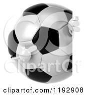 Clipart Of A 3d Soccer Ball Mascot Pointing To A Sign Royalty Free CGI Illustration