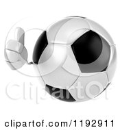 Clipart Of A 3d Soccer Ball Mascot Holding A Thumb Up Royalty Free CGI Illustration by Julos