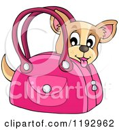 Cartoon Of A Happy Chihuahua Dog In A Pink Bag Royalty Free Vector Clipart by visekart