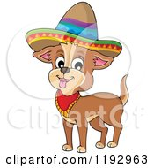 Cartoon Of A Happy Mexican Chihuahua Dog Wearing A Sombrero Royalty Free Vector Clipart by visekart
