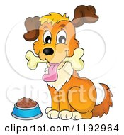 Cartoon Of A Happy Dog With A Bone In Its Mouth By A Bowl Royalty Free Vector Clipart by visekart