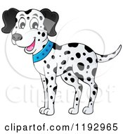 Cartoon Of A Happy Dalmatian Dog Wearing A Blue Collar Royalty Free Vector Clipart by visekart
