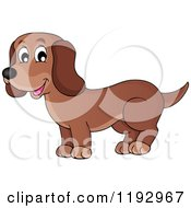Cartoon Of A Happy Brown Dachshund Dog Royalty Free Vector Clipart