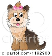 Cartoon Of A Happy Yorkie Terrier Sitting With A Pink Bow On Its Head Royalty Free Vector Clipart by visekart