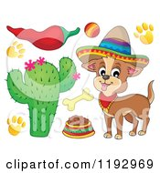 Cartoon Of A Mexican Chihuahua Dog Wearing A Sombrero With Supplies And A Pepper Royalty Free Vector Clipart by visekart