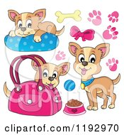 Cartoon Of Happy Chihuahuas With Prints And Supplies Royalty Free Vector Clipart