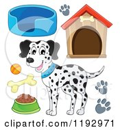 Cartoon Of A Happy Dalmatian Dog And Supplies Royalty Free Vector Clipart
