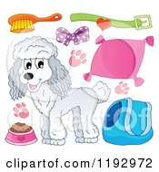 Cartoon Of A Happy White Poodle Dog And Supplies Royalty Free Vector Clipart