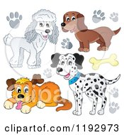 Cartoon Of Dogs And Paw Prints Royalty Free Vector Clipart