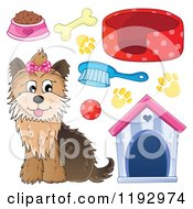 Cartoon Of A Happy Yorkie Terrier Sitting With A Pink Bow On Its Head Royalty Free Vector Clipart