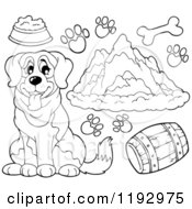 Cartoon Of A Black And White St Bernard Dog With Supplies Prints And Mountains Royalty Free Vector Clipart