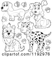 Cartoon Of Black And White Happy Dogs And Paw Prints Royalty Free Vector Clipart