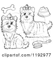 Cartoon Of Black And White Yorkie Dogs With A Brush Bone And Food Bowl Royalty Free Vector Clipart by visekart