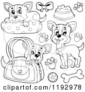 Cartoon Of Black And White Happy Chihuahuas With Prints And Supplies Royalty Free Vector Clipart