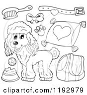 Cartoon Of A Black And White Happy Poodle Dog And Supplies Royalty Free Vector Clipart