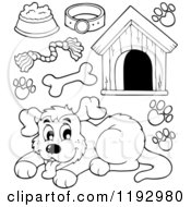 Cartoon Of A Black And White Happy Dog And Supplies Royalty Free Vector Clipart
