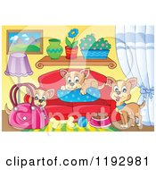 Cartoon Of Chihuahua Dogs With Food A Bag And Bed In A Living Room Royalty Free Vector Clipart