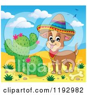 Cartoon Of A Happy Mexican Chihuahua Dog Wearing A Sombrero In A Desert Royalty Free Vector Clipart by visekart