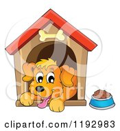 Cartoon Of A Happy Dog Panting In A House Royalty Free Vector Clipart