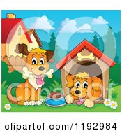 Cartoon Of Happy Dogs At A House Royalty Free Vector Clipart