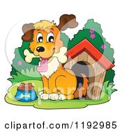 Cartoon Of A Happy Dog With Food And A Bone At A House Royalty Free Vector Clipart by visekart