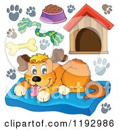 Cartoon Of A Happy Dog On A Pet Bed With Supplies Royalty Free Vector Clipart
