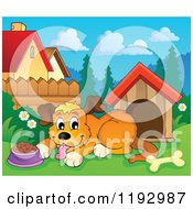 Cartoon Of A Happy Dog Panting By Food And A House Royalty Free Vector Clipart