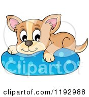 Cartoon Of A Happy Chihuahua Dog Resting On A Pillow Royalty Free Vector Clipart