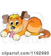 Cartoon Of A Happy Dog Panting Royalty Free Vector Clipart