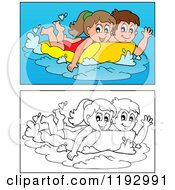 Cartoon Of Happy Children Swimming On An Inflatable Mattress In Color And Black And White Royalty Free Vector Clipart