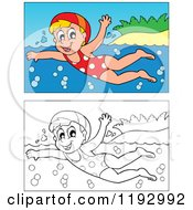 Cartoon Of A Happy Blond Girl Swimming Near An Island Beach In Color And Black And White Royalty Free Vector Clipart