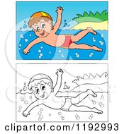 Cartoon Of A Happy Boy Swimming Near An Island Beach In Color And Black And White Royalty Free Vector Clipart